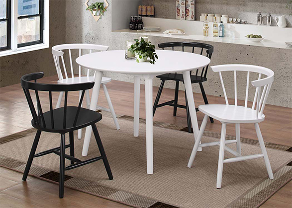 White and black wooden furniture dining set