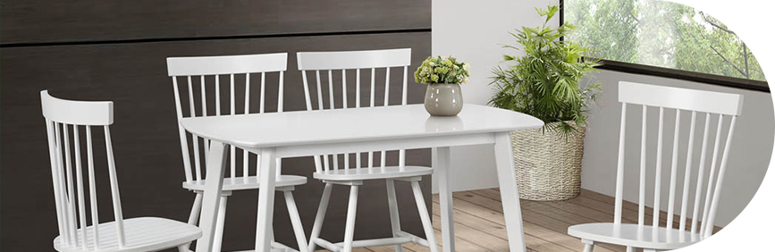 White wooden dining furniture